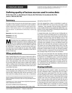 Defining quality of lactose sources used in swine diets
