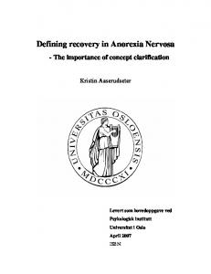 Defining recovery in Anorexia Nervosa