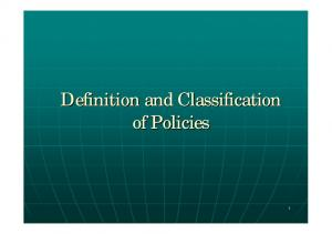Definition and Classification of Policies