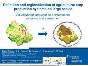 Definition and regionalization of agricultural crop production systems on large scales