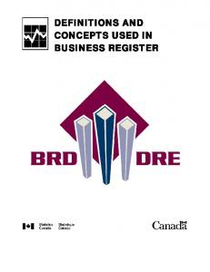 DEFINITIONS AND CONCEPTS USED IN BUSINESS REGISTER