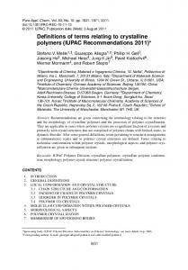 Definitions of terms relating to crystalline polymers (IUPAC Recommendations 2011)*