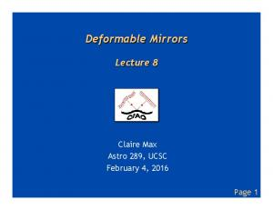 Deformable Mirrors Lecture 8