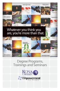 Degree Programs, Trainings and Seminars