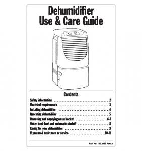 Dehumidifier Use & Care Guide