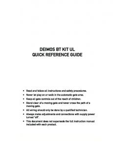 DEIMOS BT KIT UL QUICK REFERENCE GUIDE