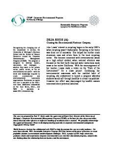 DEJA SHOE (A): Creating the Environmental Footwear Company