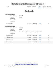 DeKalb County Newspaper Directory. Clarksdale