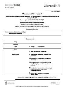 Deklaracja uczestnictwa w projekcie