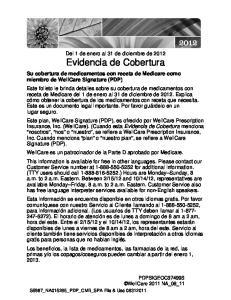 Del 1 de enero al 31 de diciembre de 2012 Evidencia de Cobertura