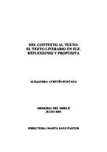 DEL CONTEXTO AL TEXTO: EL TEXTO LITERARIO EN ELE. REFLEXIONES Y PROPUESTA