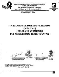 ,DEL H. AYUNTAMIENTO. del 1 de Marzo al15 de Octubre de 2013 TABULADOR DE SUELDOS Y SALARIOS , DEL H. AYUNTAMIENTO DEL MUNICIPIO DE TEKIT, YUCATAN