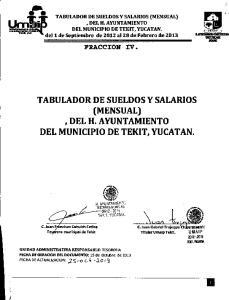 DEL H. AYUNTAMIENTO DEL MUNICIPIO DE TEKIT, YUCATAN. del 1 de Septiembre de 2012 al2a de Febrero de 2013 TABULADOR DE SUELDOS Y SALARIOS