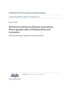 Del homo economicus al homer economicus: Breves apuntes sobre el behavioral law and economics