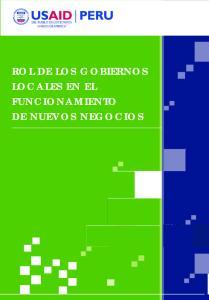 DEL PUEBLO DE LOS ESTADOS UNIDOS DE AMERICA ROL DE LOS GOBIERNOS LOCALES EN EL FUNCIONAMIENTO DE NUEVOS NEGOCIOS