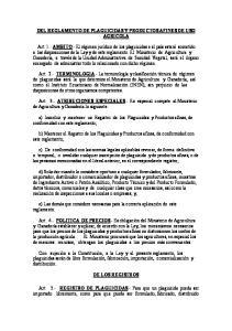 DEL REGLAMENTO DE PLAGUICIDAS Y PRODUCTOS AFINES DE USO AGRICOLA