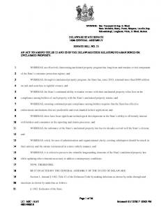 DELAWARE STATE SENATE 149th GENERAL ASSEMBLY SENATE BILL NO. 13