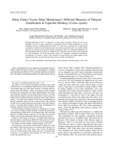 Delay Choice Versus Delay Maintenance: Different Measures of Delayed Gratification in Capuchin Monkeys (Cebus apella)