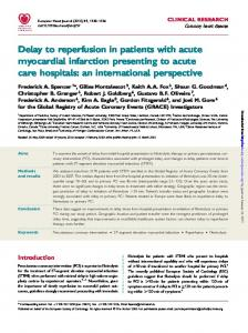 Delay to reperfusion in patients with acute myocardial infarction presenting to acute care hospitals: an international perspective