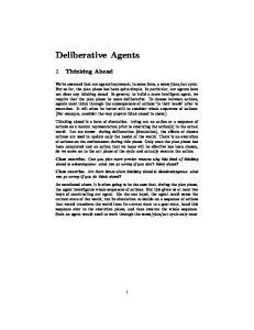 Deliberative Agents. 1 Thinking Ahead