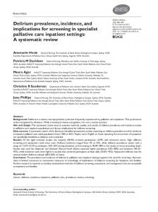 Delirium prevalence, incidence, and implications for screening in specialist palliative care inpatient settings: A systematic review
