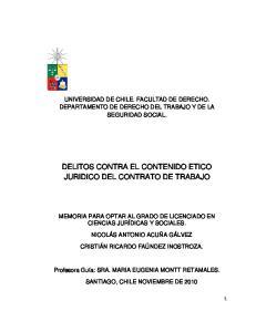 DELITOS CONTRA EL CONTENIDO ETICO JURIDICO DEL CONTRATO DE TRABAJO