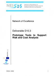 Deliverable D10.3 Prototype Tools to Support Risk and Cost Analysis