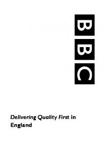 Delivering Quality First in England
