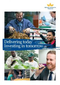 Delivering today Investing in tomorrow