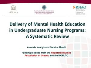 Delivery of Mental Health Education in Undergraduate Nursing Programs: A Systematic Review