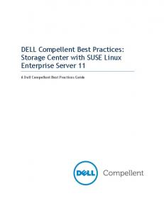 DELL Compellent Best Practices: Storage Center with SUSE Linux Enterprise Server 11. A Dell Compellent Best Practices Guide