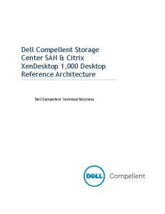 Dell Compellent Storage Center SAN & Citrix XenDesktop 1,000 Desktop Reference Architecture. Dell Compellent Technical Solutions