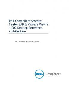 Dell Compellent Storage Center SAN & VMware View 5 1,000 Desktop Reference Architecture. Dell Compellent Technical Solutions