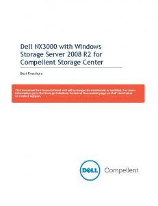 Dell NX3000 with Windows Storage Server 2008 R2 for Compellent Storage Center. Best Practices