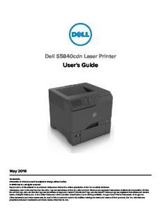 Dell S5840cdn Laser Printer. User's Guide