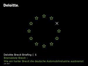 Deloitte Brexit Briefing 5 Bremsklotz Brexit Wie ein harter Brexit die deutsche Automobilindustrie ausbremst