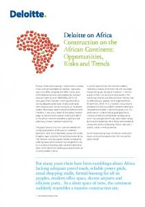 Deloitte on Africa Construction on the African Continent: Opportunities, Risks and Trends