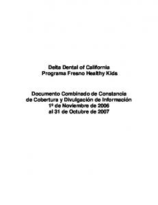 Delta Dental of California Programa Fresno Healthy Kids