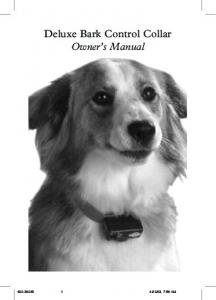 Deluxe Bark Control Collar Owner s Manual