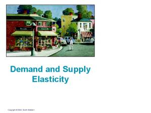 Demand and Supply Elasticity. Copyright 2004 South-Western
