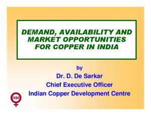DEMAND, AVAILABILITY AND MARKET OPPORTUNITIES FOR COPPER IN INDIA