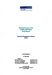 Demand for use of the 2.4GHz ISM Band Final Report