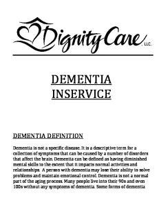 DEMENTIA INSERVICE DEMENTIA DEFINITION
