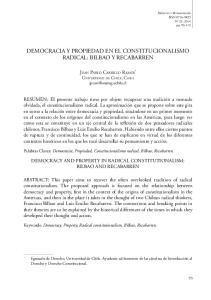DEMOCRACIA Y PROPIEDAD EN EL CONSTITUCIONALISMO RADICAL: BILBAO Y RECABARREN