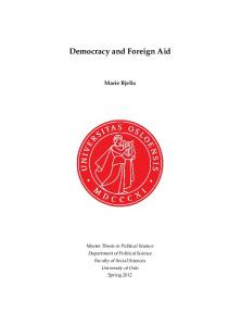 Democracy and Foreign Aid. Marie Bjella
