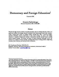 Democracy and Foreign Education 1