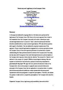 Democracy and Legitimacy in the European Union