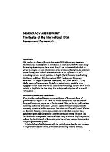 DEMOCRACY ASSESSMENT: The Basics of the International IDEA Assessment Framework