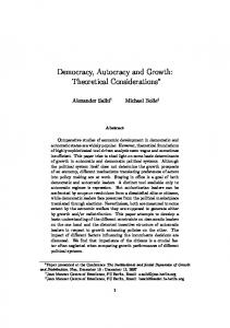 Democracy, Autocracy and Growth: Theoretical Considerations
