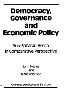 Democracy, Governance and Economic Policy